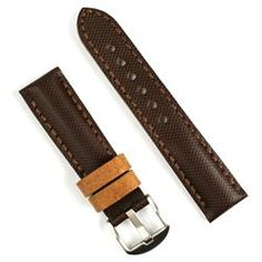 24mm Brown Tartan Leather Watch Band | B & R Bands