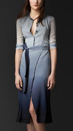 Stone blue Dégradé Silk Wrap Dress - Image 1