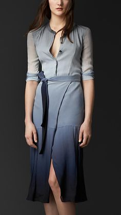 Stone blue Dégradé Silk Wrap Dress - A silk crepon dégradé wrap dress. There is pleat detailing at the dropped hem of the skirt. The belted design is cut for a close fit and is complete with a clean concealed placket. Discover the women's dress collection at Burberry.com