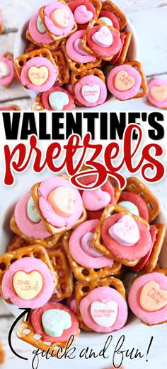 Valentine's Pretzels are a super fun and simple sweet and salty holiday treat, made in just a few minutes with only three simple ingredients! Just Desserts, Delicious Desserts, Dessert Recipes, Yummy Food, Appetizer Recipes, Appetizers, Tasty, Valentines Day Food, Valentines Recipes