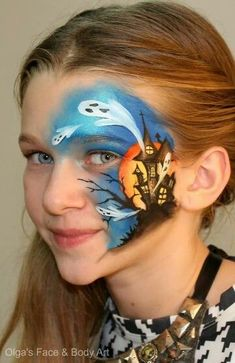 Halloween Face Painting by Olga Meleca Halloween Face Paint Designs, Face Painting Halloween Kids, Face Painting Designs, Halloween Design, Ghost Face Paint, Face Paint Makeup, Theme Halloween, Halloween Make Up, Scary Halloween
