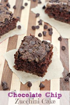 Chocolate+Chip+Zucchini+Cake+~+Zucchini+keeps+this+chocolate+cake+moist+and+scrumptious!+via+www.julieseatsandtreats.com