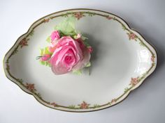 Vintage Pink Green Haviland Limoges Serving by thechinagirl