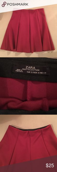 Zara Dark Red High-Waisted Mini Skirt Super cute Pleated mini skirt from Zara. High waisted and cinched at the waist in a gorgeous deep red. Size S. Amazing condition Zara Skirts Midi