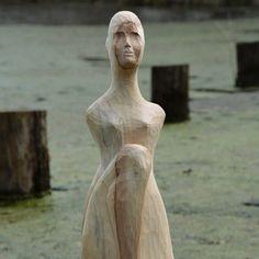 Water nymph - buckeye tree  #water #nymph #fairy #woman #girl #sitting #wood #wooden #carved #handmade #buckeye #tree #waternymph #veruji #vkvas #art #chisel  #sculptor #carver #czech #czechart #czechartist