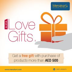 Get exciting gifts on purchase of products more than AED 500  For more information visit us at https://www.menakart.com/gifts.html
