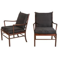 """Rare Pair of Rosewood """"Colonial"""" Chairs by Ole Wanscher for P. Jeppesen, Denmark 