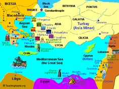 Map of the 7 churches of Asia Minor