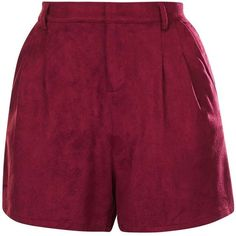 Julip - Maroon Suede Shorts by Goldie (3520 ALL) ❤ liked on Polyvore featuring shorts, high waisted shorts, high-rise shorts, highwaist shorts, suede shorts and topshop shorts