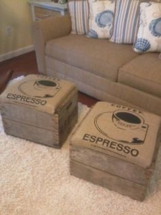 I made these foot stools using an old apple crate and burlap coffee bean bag | Coffee bag fashion | re-pinned by http://www.cupkes.com/