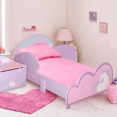 This toddler bed frame and toy storage box is made of high-quality MDF that is sturdy and lightweight enough to be moved if required. Finished in a durable non-toxic coating. Toddler Bed Frame, Kids Bed Frames, Girl Room, Girls Bedroom, Cute Bedroom Decor, Kids Bedroom Designs, Toy Storage Boxes, Kids Bedroom Furniture, Kid Beds