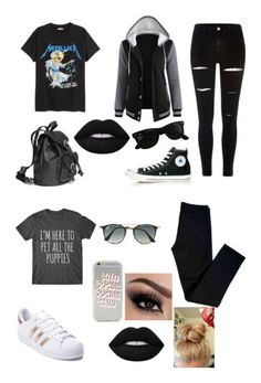 """""""BLACK STYLE"""" by ghetaudorina on Polyvore featuring H&M, River Island, Converse, Ray-Ban, J Brand and adidas"""