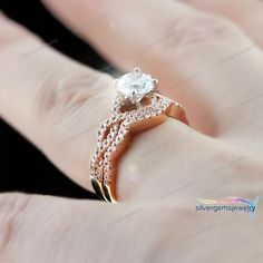 Halo Engagement Bridal Ring Set Band Vintage 1.00 Ct Diamond 14K Rose Gold #Silvergemsjewelry #SolitairewithAccents