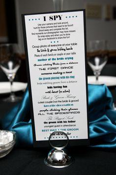 "DIY ""I spy"" - fun way to inspire guests to take candid photos. #wedding"
