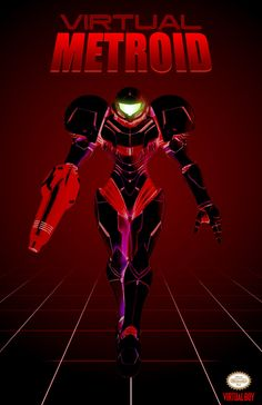 """Poster in progress. Wanted to make a """"what if"""" type poster for Metroid and Virtual boy. Metroid Poster For Virtual Boy Metroid Samus, Metroid Prime, Samus Aran, Geeky Wallpaper, Iron Man Wallpaper, Game Character, Character Design, Virtual Boy, Video Game Art"""