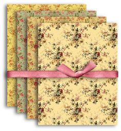 767 - A4 Vintage Floral Texture Papers - Digital Collage Sheet Download