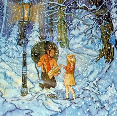 Lucy meets Mr. Tumnus at the Lamppost in Narnia