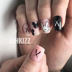 Gel Manicure Ideas For Short Nails Best Nail Designs 2018 – Gel Manicure Ideas F… Best Acrylic Nails, Summer Acrylic Nails, Swag Nails, My Nails, Mickey Nails, Fire Nails, Dream Nails, Perfect Nails, Simple Nails
