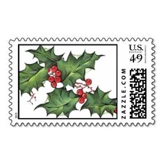 Holly Twig Christmas Postage Stamp..Stamp Sale: $10 Off by midnight (25.11.15)! CODE: TGIVINGSTAMP