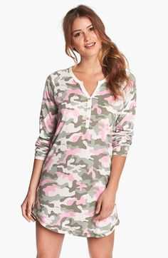 PJ Salvage 'Camo Cool' Sleep Shirt available at Sleepwear & Loungewear, Nightwear, Outfits For Teens, Cute Outfits, Pj Day, Plus Size Pajamas, Summer Pajamas, Victoria Secret Pajamas, Sleep Shirt