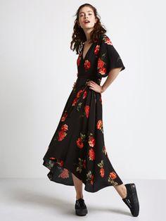 Black Isla Rose Wrap Midi Dress