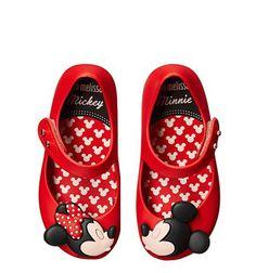 wholesale dealer 947e9 542b6 Mini Melissa - Ultragirl + Disney Twins Girl s Shoes mickey mouse, disney  world, disney fashion, disney style, red shoes