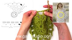 How to crochet a square for the poncho in DROPS 167-21