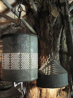 Lights made out of minnow buckets and tin funnels