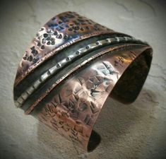 Touch of Silver fold forming cuff by Joni Kisro at Get Hammered Metalsmith Studio LLC