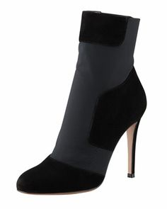 Gianvito Rossi Patchwork-Suede Stretch Bootie - Bergdorf Goodman
