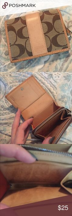 Tan Coach Wallet Tan Coach Wallet has some wear. Marks on my he inside are photographed and change slot is dirty from the coins in it. Normal wear but still in good shape. Fits 3 cards, has an ID spot and a long pouch for cash. Coach Bags Wallets