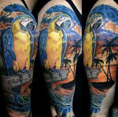 Guys Beach Tattoo Of Palm Tree And Parrot Half Sleeve