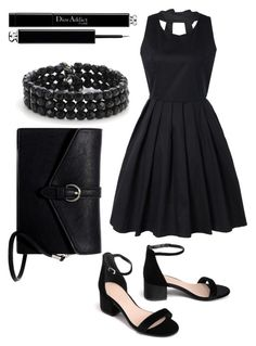 """""""ALL BLACK"""" by fathimazee ❤ liked on Polyvore featuring Ted Baker, Christian Dior, Mixit and allblack"""