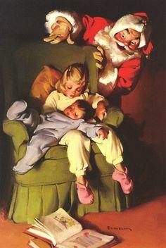 Vintage, Coca-Cola Christmas Santa ad. Brings back warm, childhood memories! - By Haddon Sundblom.