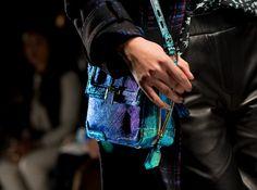 blue holographic Rebecca Minkoff Elle bag