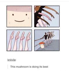 I am a mushroom lol Stupid Funny, Haha Funny, Funny Cute, Hilarious, Funny Stuff, Memes Humor, Funny Memes, Cute Comics, Funny Comics