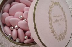 French dragées (sugar coated almonds) from LaDurée.Paris.offered mostly by special events.(weddings,given out at baptism,etc..)