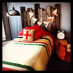 My son's vintage inspired bedroom. Barnwood headboard Swiss cross burlap pillow. Hudson's bay blanket  Www.bvintage.ca or www.facebook.com\bvintage.ca. ❤