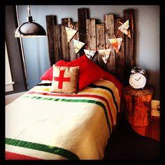My son's vintage inspired bedroom. Barnwood headboard Swiss cross burlap pillow. Hudson's bay blanket  Www.bvintage.ca or www.facebook.com\bvintage.ca. ❤