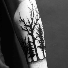 Males Modern Black Forest Outline Tattoo On Forearm