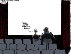 The Chicago Tribune's cartoon tribute to Roger Ebert :'( Siskel saved him an aisle seat in heaven.