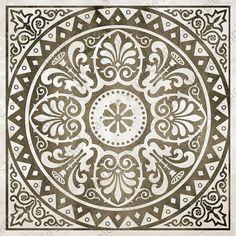 Items similar to Digital tiles, medallion motif ornate art prints, Mosaic Tile Wall Art set of 4 printable images for DIY blue and brown home decor on Etsy Mandalas Painting, Mandalas Drawing, Tile Patterns, Pattern Art, Pattern Design, Brown Home Decor, Greek Pattern, Etsy Fabric, Magic Design
