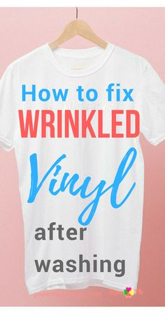Silhouette or Cricut Tip / Trick - Check out these easy tips to get the wrinkles out of vinyl on a washed t-shirt. Working with heat transfer vinyl can be tricky but this tip will help you get your vinyl smooth. Silhouette Cameo Tutorials, Plotter Silhouette Cameo, Silhouette Vinyl, Silhouette Machine, Silhouette Projects, Silhouette Files, Silhouette Cutter, Silhouette America, Silhouette Cameo Shirt