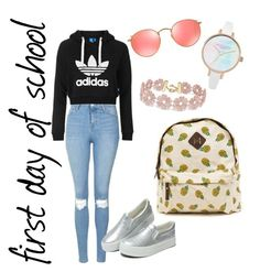 """""""first day of school outfit"""" by terrinhas-maga on Polyvore featuring Topshop, Ray-Ban and BaubleBar"""