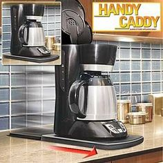 Handy Caddy Sliding Kitchen Under Cabinet Appliance Moving Caddy by Handy Caddy. $29.99. ABS plastic; 12 1/2 x 9 1/2 x 1 1/2 inches. Simply slide back when not needed. Takes effort out of accessing frequently used kitchen appliances. Fits under kitchen cabinets; tucks flush against wall. Keep Counters Tidy And Organized. Easy to clean; dishwasher safe. Take Advantage Of Our Daily Sales On The Hottest Selling Catalog Products. All New, In Original Packages.... ...