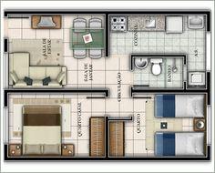 planta casa 2 dormitorios popular