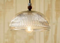 Hanging Pendant Light made from Vintage Holophane Type Glass Shade - Medium Size