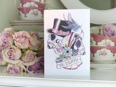 Til Death Skeleton Bride & Groom with Swallow Tattoo Wedding Card