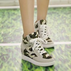 Cheap shoes freeshipping, Buy Quality shoe umbrella directly from China shoe cusion Suppliers: Fashionbrand genuine leather hightop shoes ladies High women high top sneakers Air shoes wear Camouflage trainers High Top Sneakers, Sneakers Mode, Black Sneakers, Nike Wedge Sneakers, Shoes Sneakers, Lace Up Shoes, Cute Shoes, Sneaker Outfits, Basket Mode