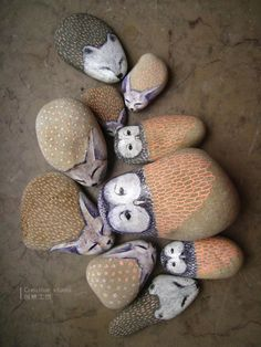 painted animal stones